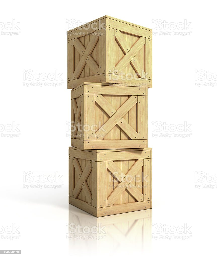 wooden crates isolated vector art illustration