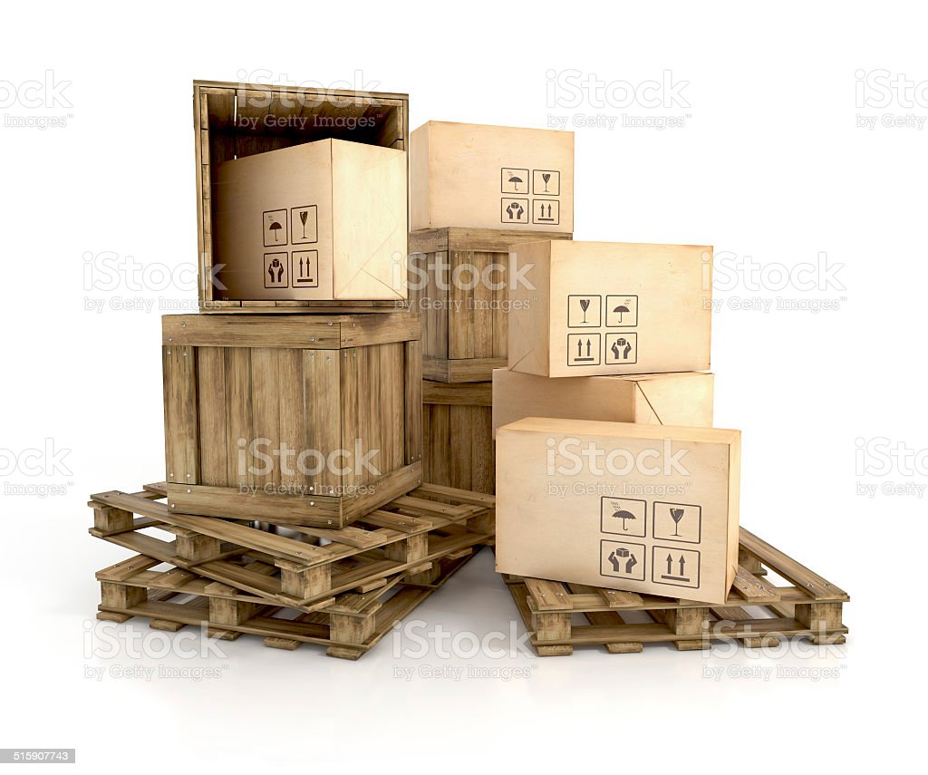 wooden crates on pallets stock photo
