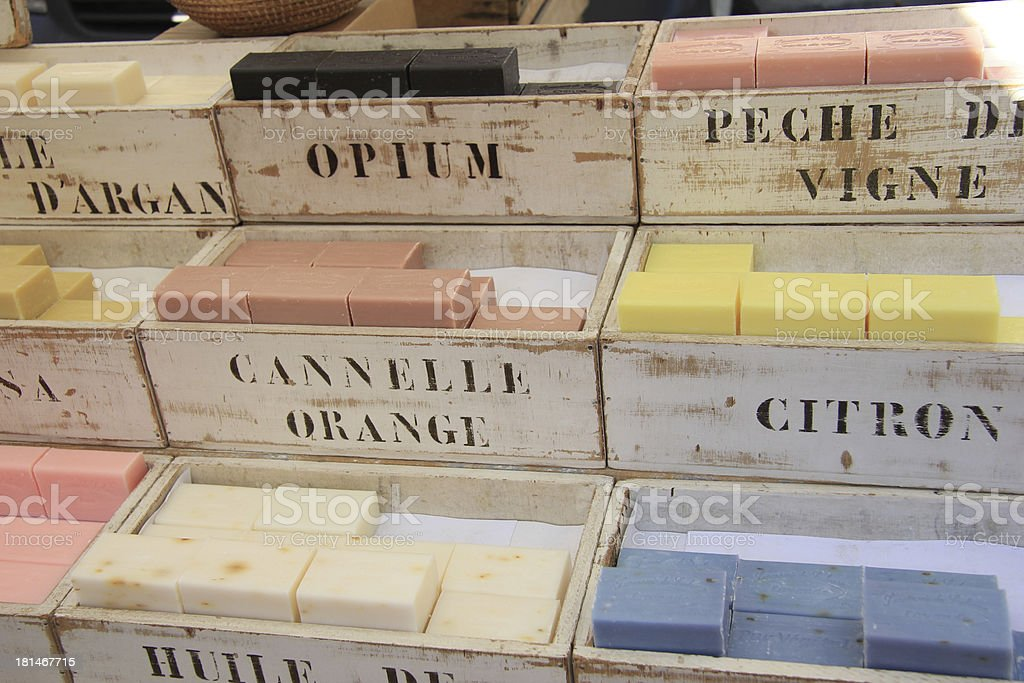Wooden crates with soap royalty-free stock photo