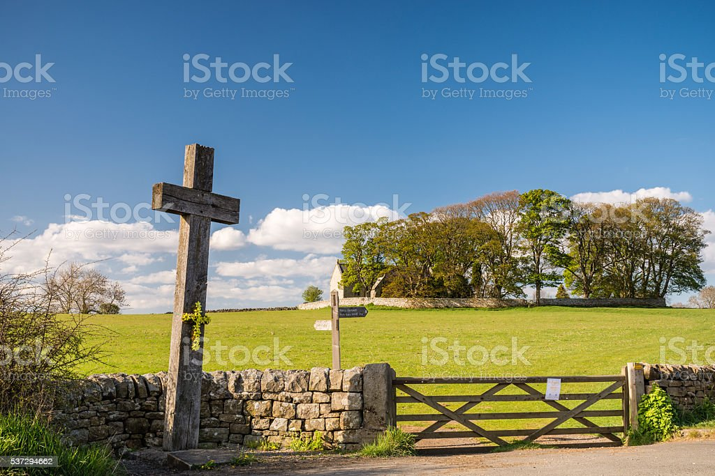 Wooden Cross at Heavenfield stock photo