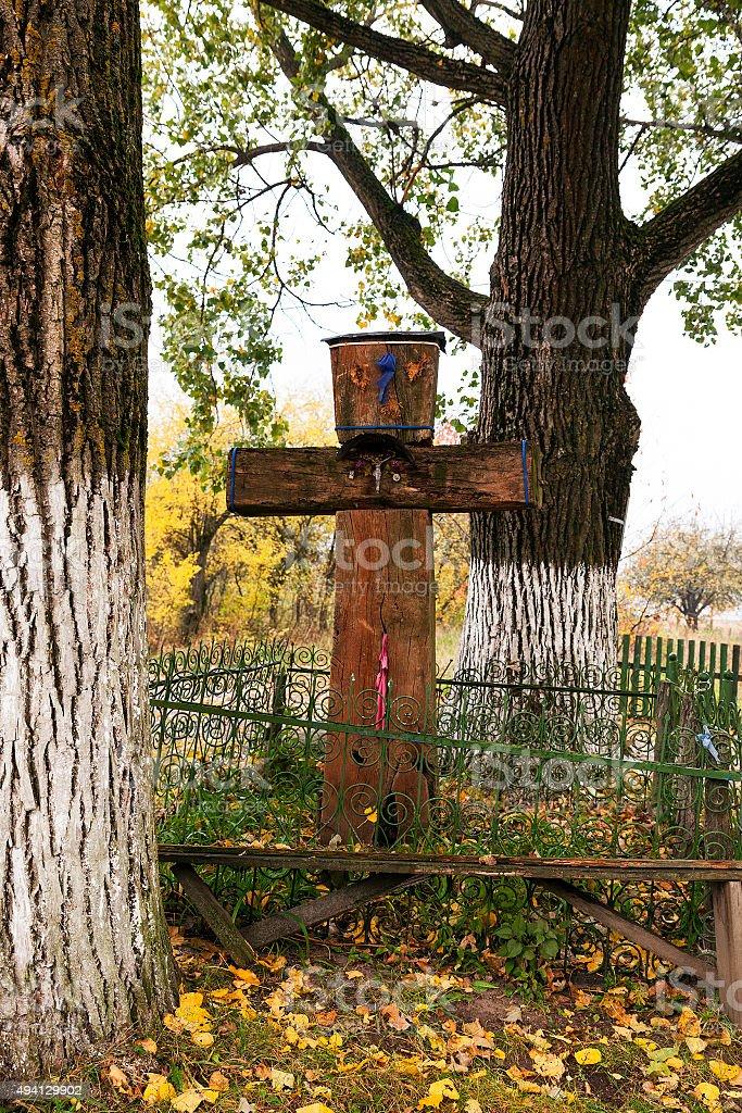 wooden cross . Belarus stock photo