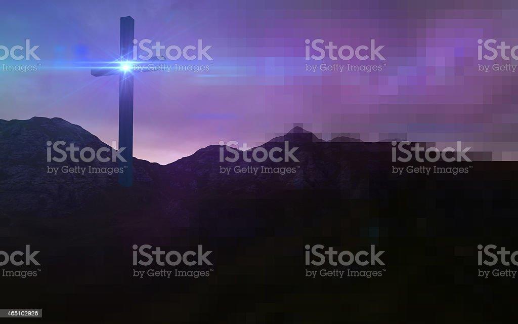 Wooden cross in night stock photo