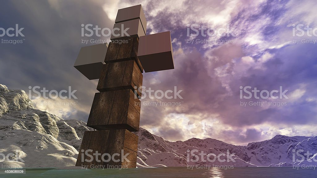 Wooden cross in water royalty-free stock photo