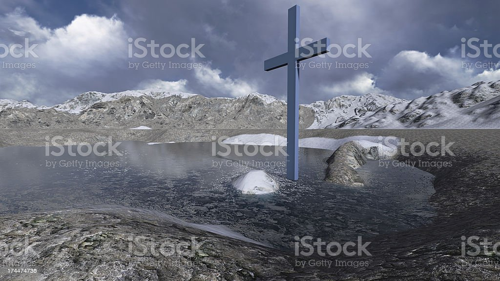 Wooden cross in winter royalty-free stock photo