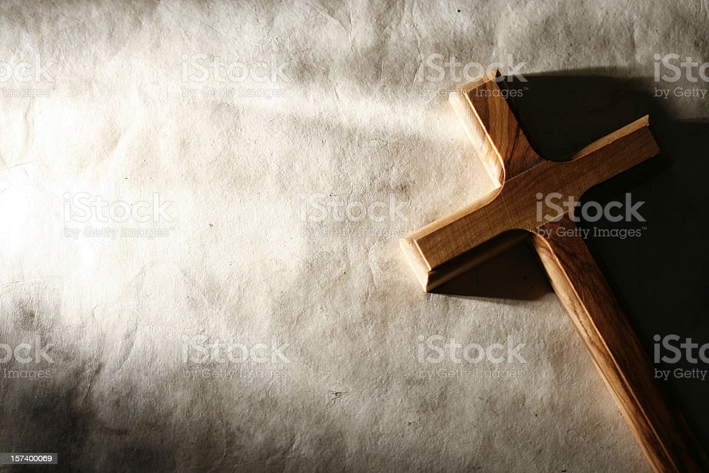 Wooden Cross on Grunge Background royalty-free stock photo