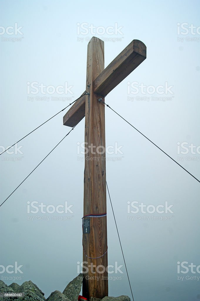 Wooden cross on mountain in the High Tatras stock photo