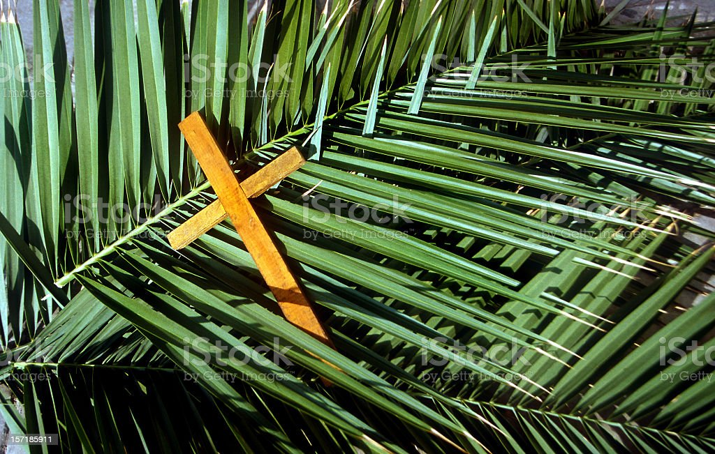Wooden Cross on palm leafs Palm Sunday stock photo