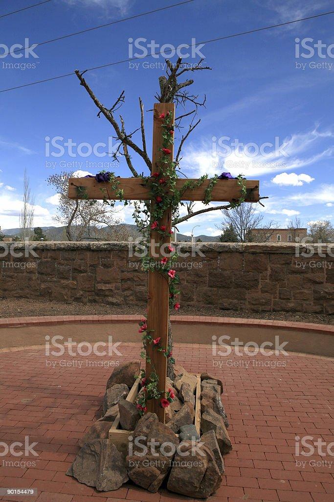 Wooden Cross, Santa Fe, New Mexico royalty-free stock photo
