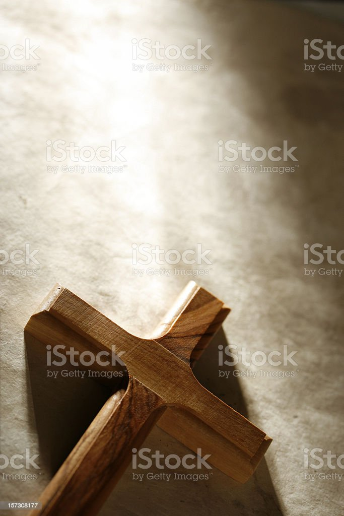 Wooden Cross with Copyspace royalty-free stock photo