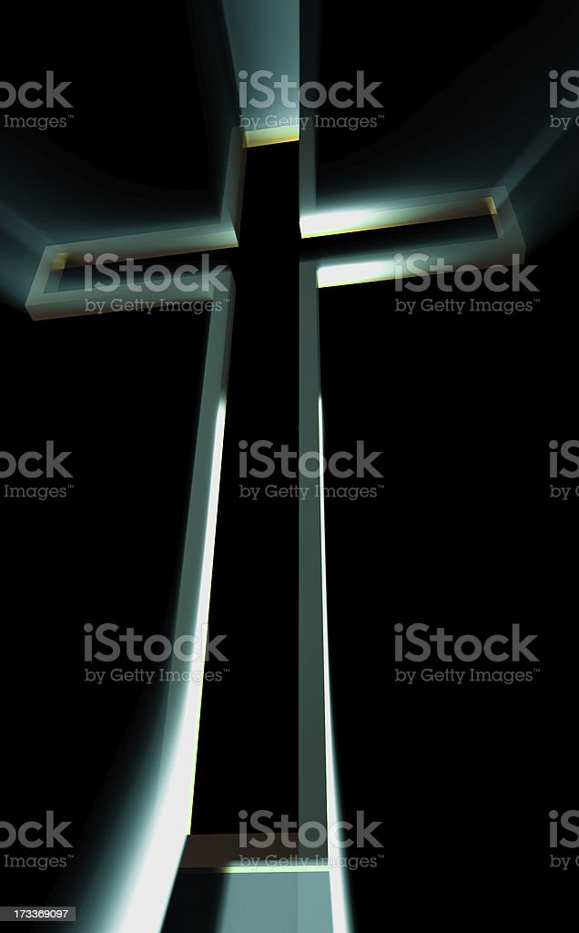 Wooden cross with rays royalty-free stock photo