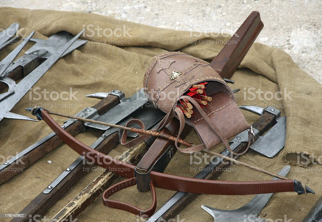 wooden crossbow with arrows royalty-free stock photo