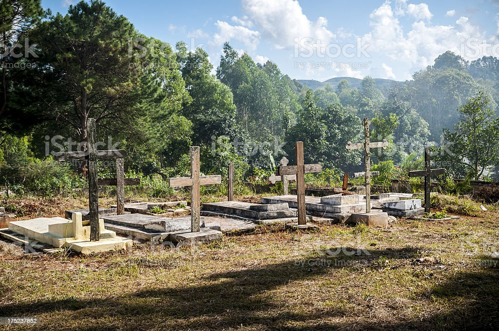 Chrisitan cemetery in Kalaw, Myanmar stock photo