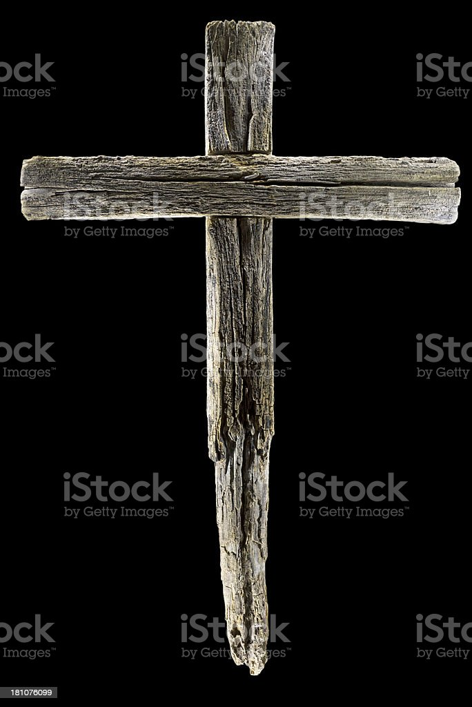 Wooden crucifix cross on black background royalty-free stock photo