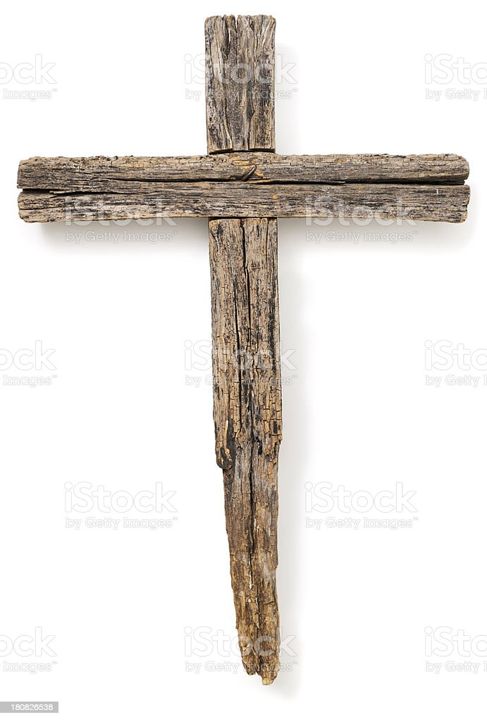 Wooden crucifix cross on white background stock photo