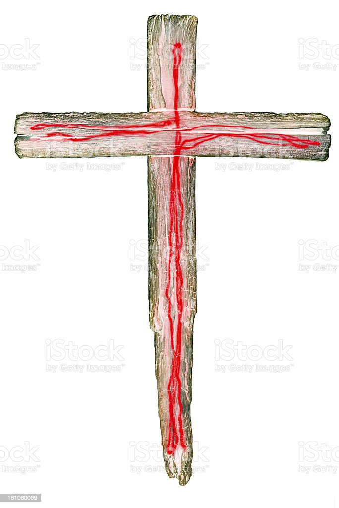 Wooden crucifix cross on white background royalty-free stock photo