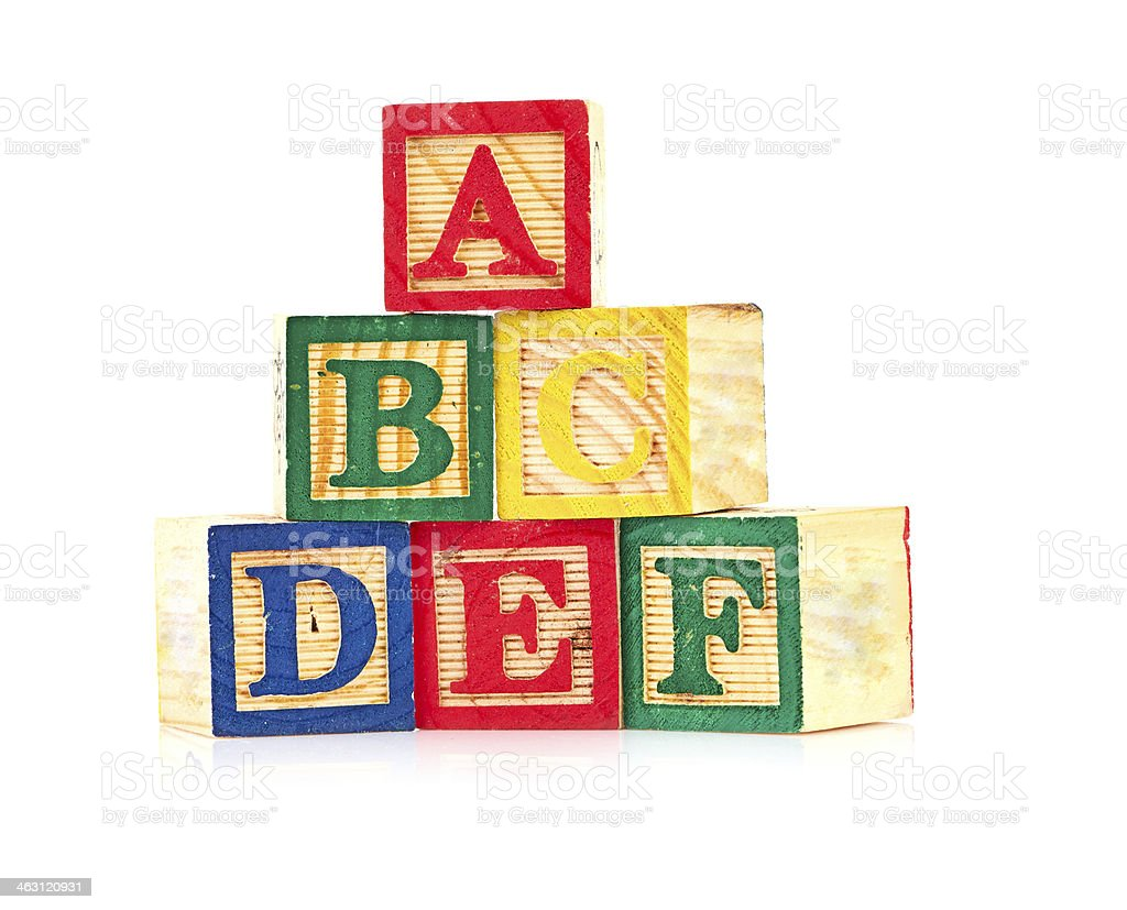 wooden cube alphabet stock photo