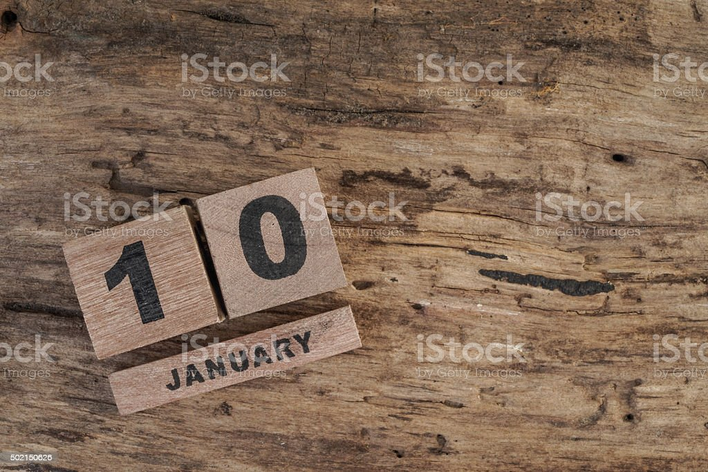 wooden cube calendar for january stock photo