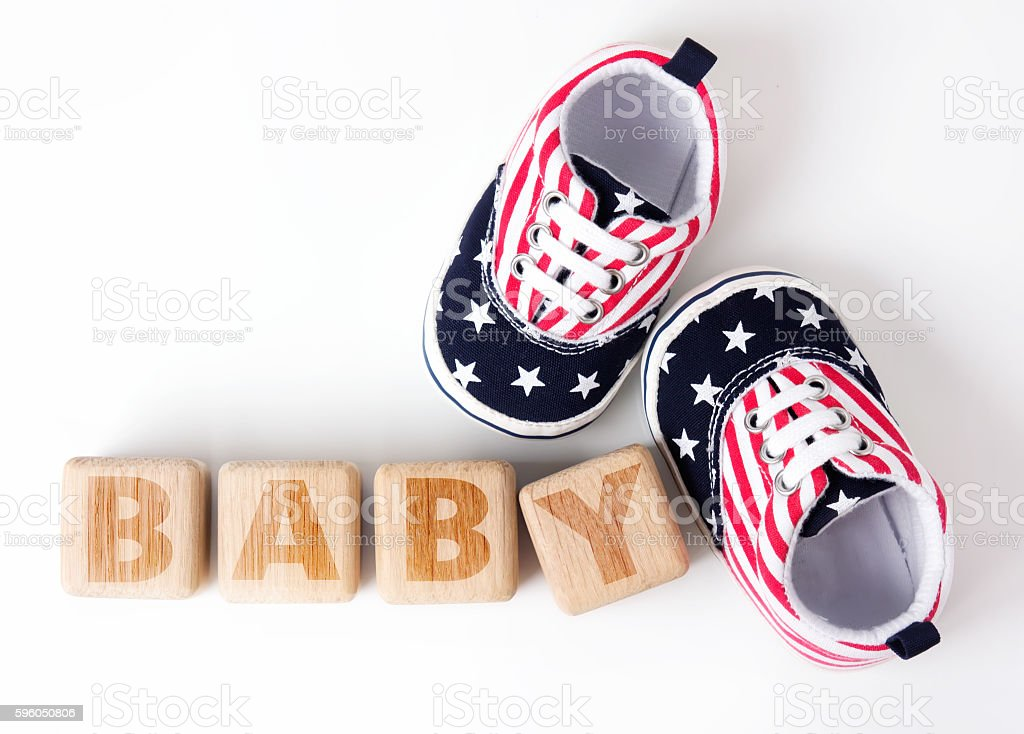 Wooden cubes blocks baby word infant concept. stock photo