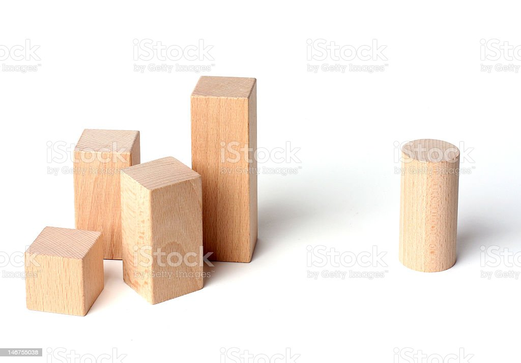Wooden cubes (racism) stock photo