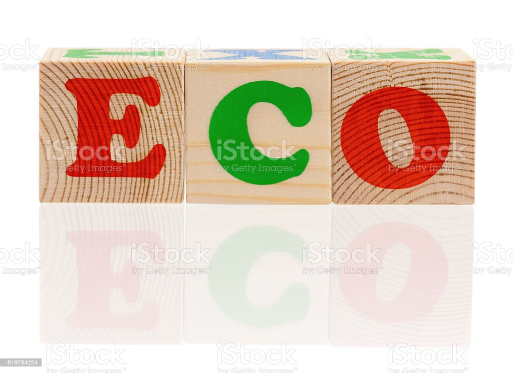 Wooden cubes with letters stock photo