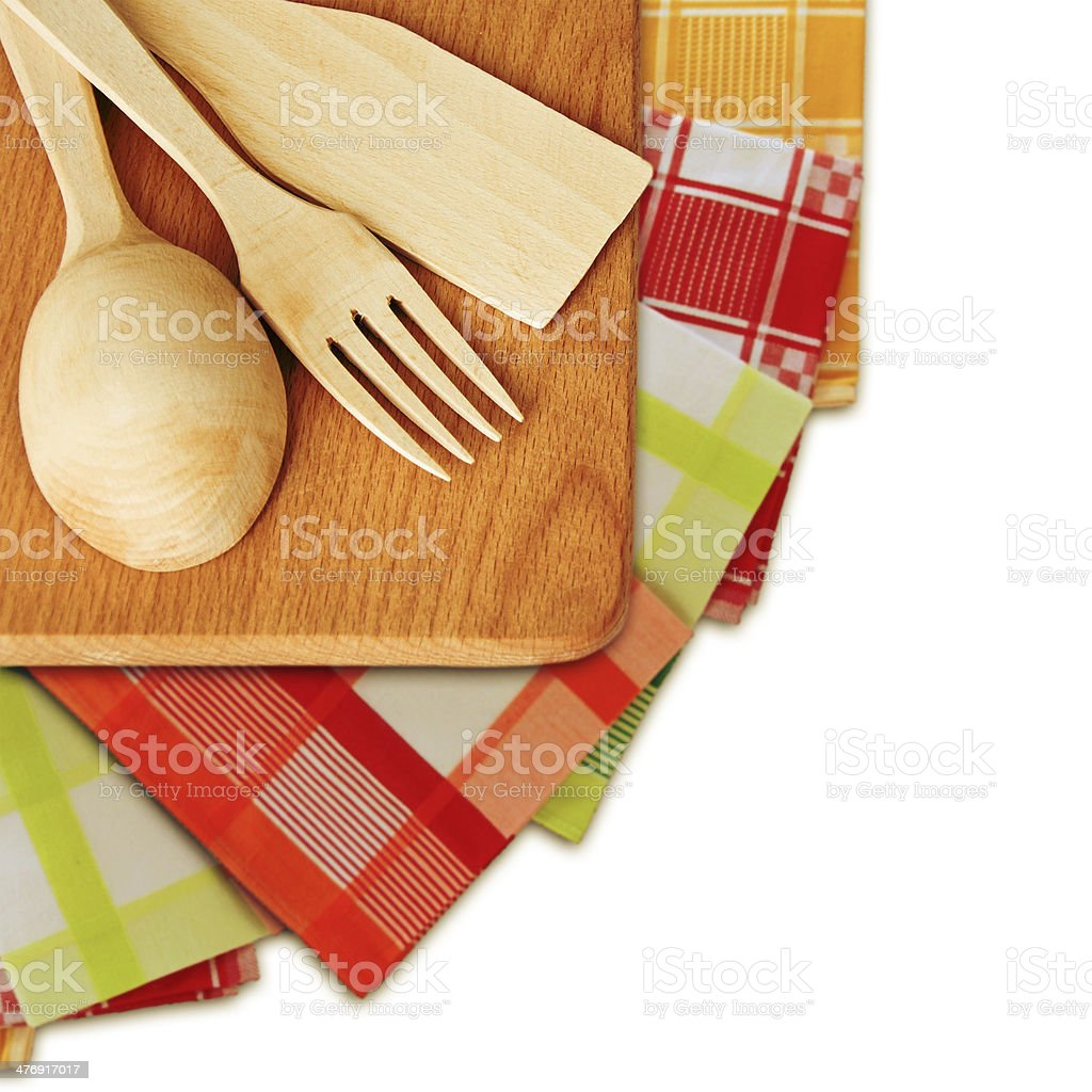 Wooden cutlery on the cutting board. royalty-free stock photo
