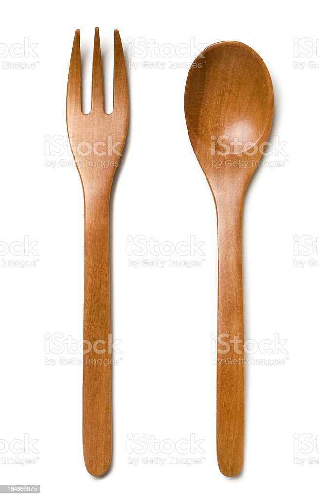 Wooden cutlery stock photo