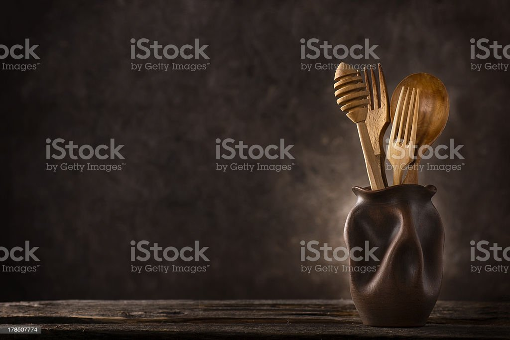 Wooden cutlery still-life royalty-free stock photo