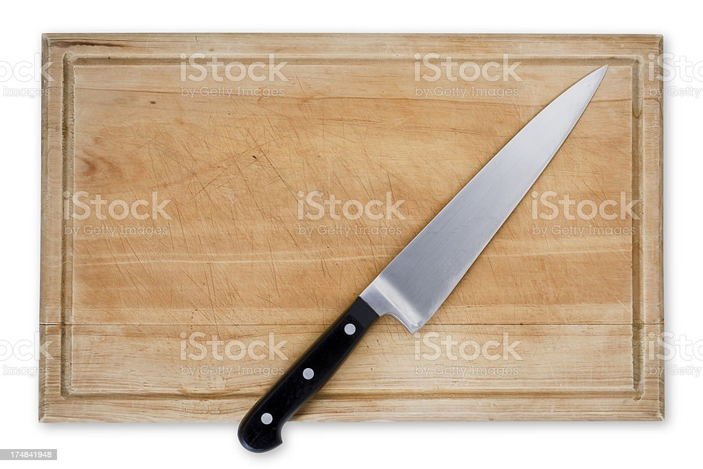 Wooden Cutting Board and Knife royalty-free stock photo