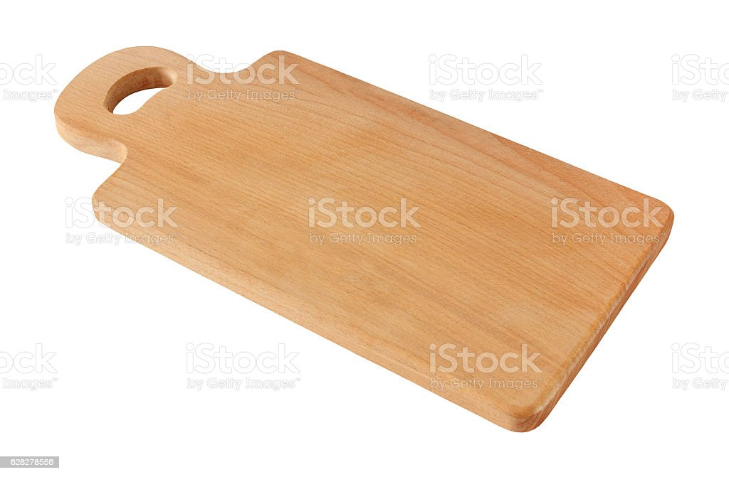wooden cutting board isolated on white background with clipping path stock photo