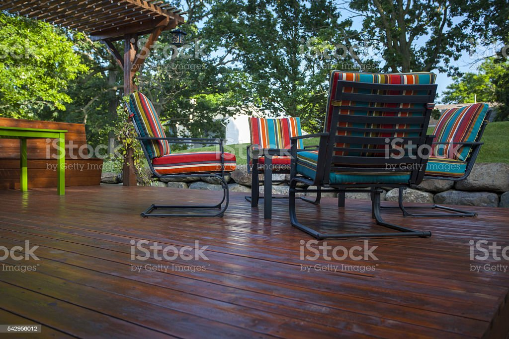 Wooden Deck and Chairs stock photo