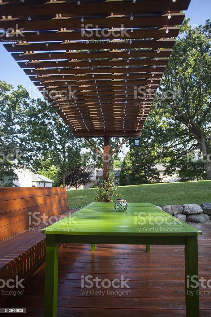 Wooden Deck and Pergola stock photo