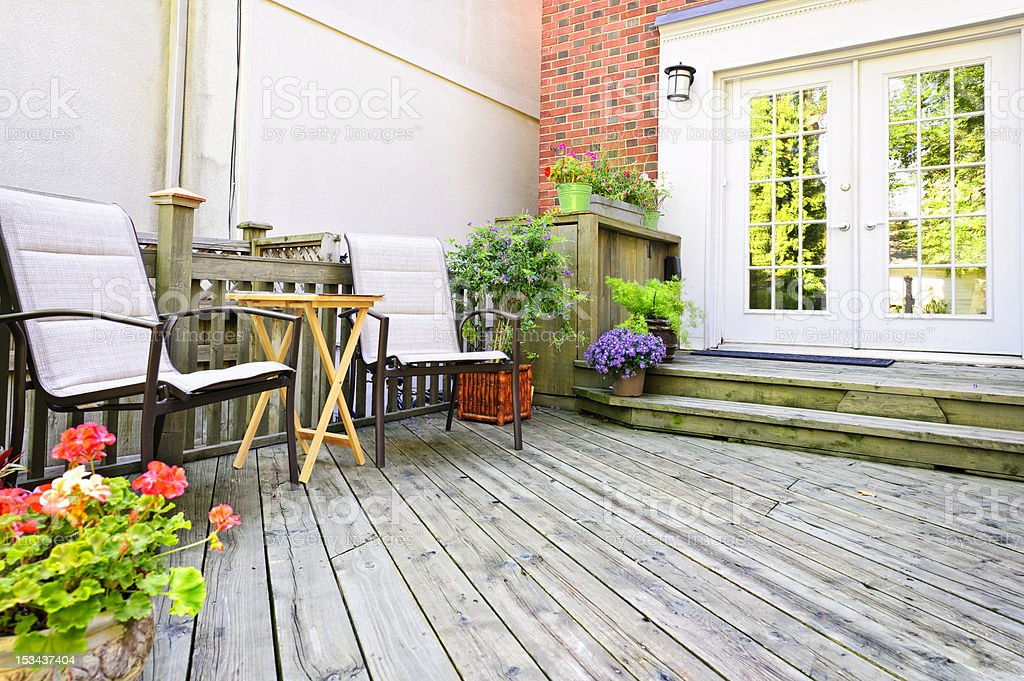 Wooden deck at home stock photo
