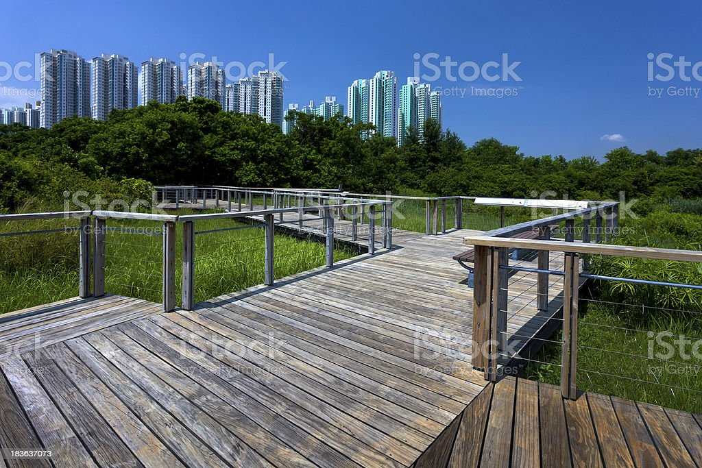 Wooden deck with buildings in background royalty-free stock photo