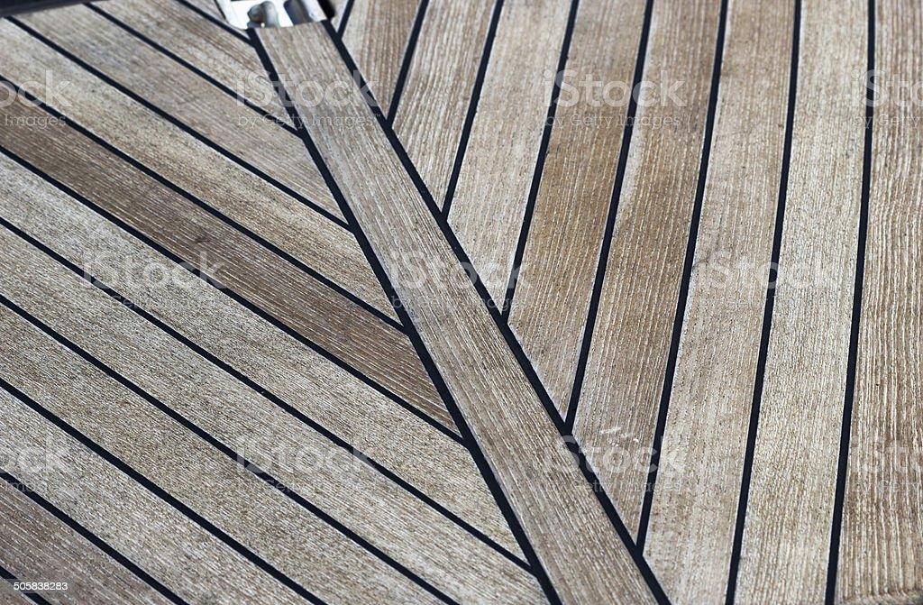 wooden deck yacht stock photo