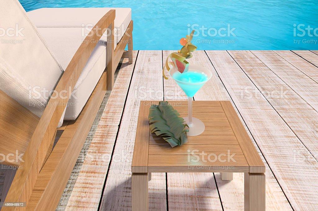 terraza de madera con asiento y blue water foto de stock libre de derechos