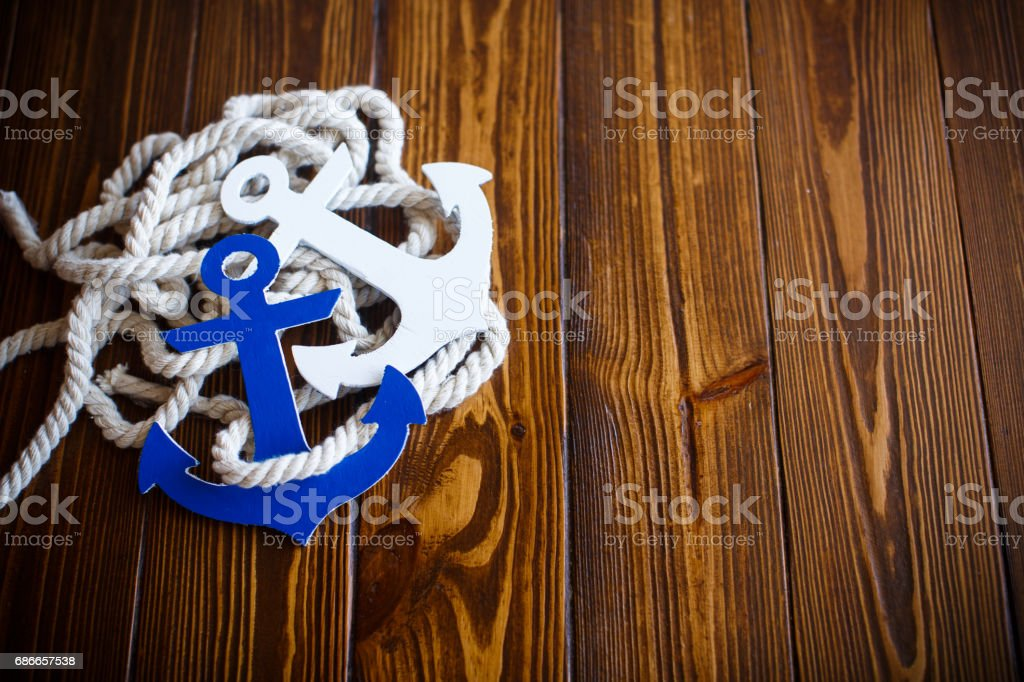 Wooden decorative anchor stock photo