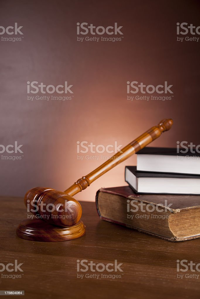 Wooden desk in a law firm royalty-free stock photo