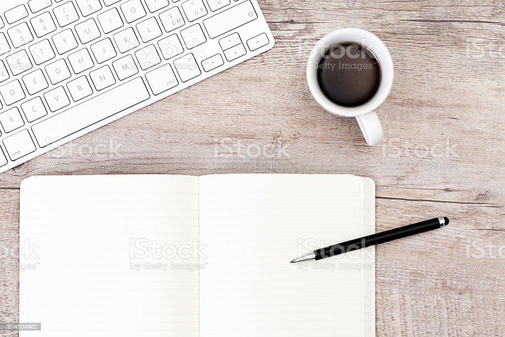 Wooden desk office stock photo