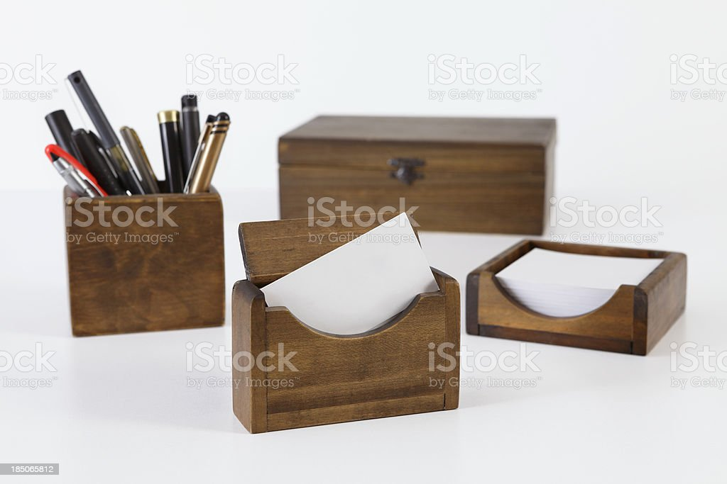 wooden desk organizer set royalty-free stock photo
