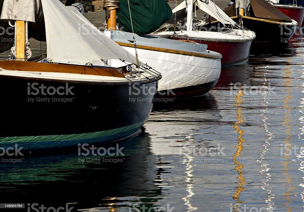 Wooden Dinghys Tied Up royalty-free stock photo