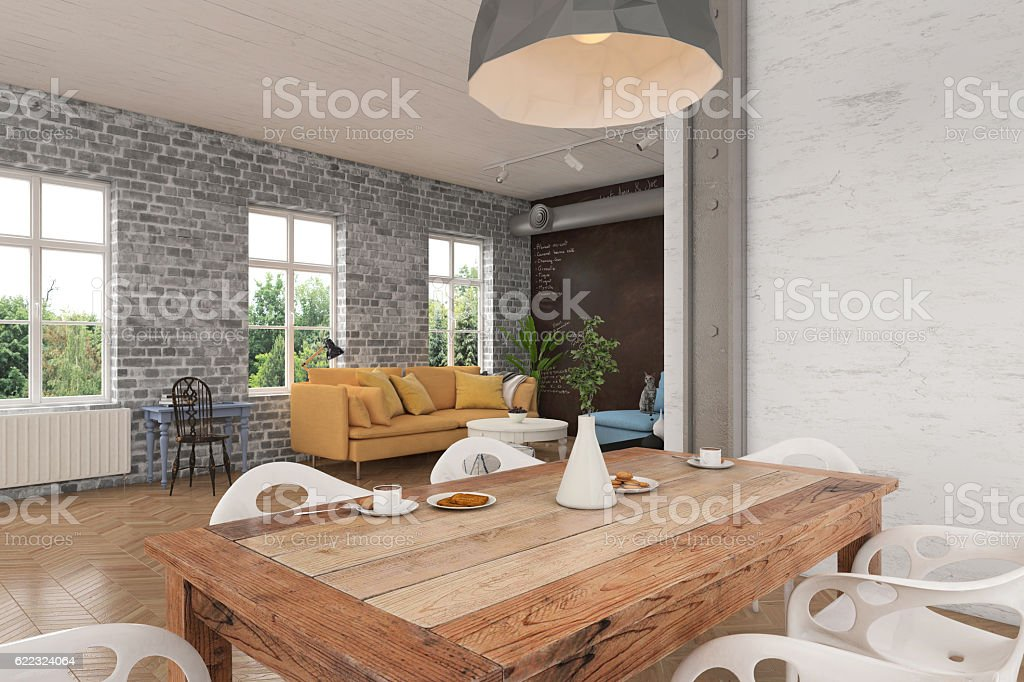 Wooden dining table with chairs close up stock photo