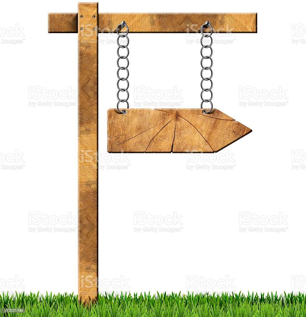 Wooden Directional Sign - One Arrow with Chain stock photo