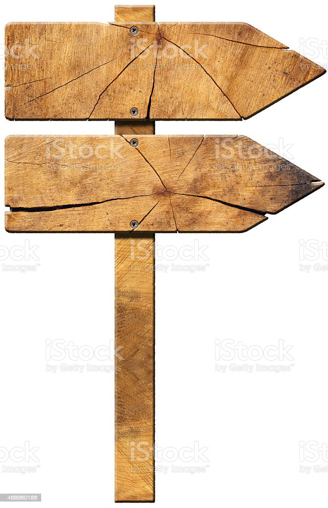 Wooden Directional Sign - Two Arrows stock photo