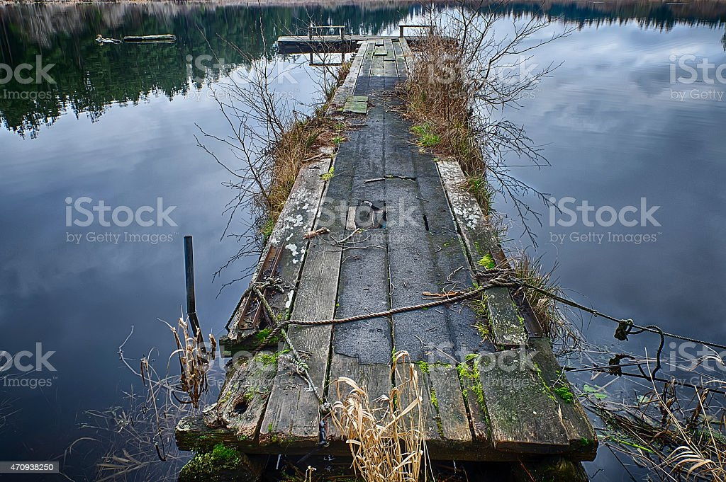 Wooden Dock on Egg Lake stock photo