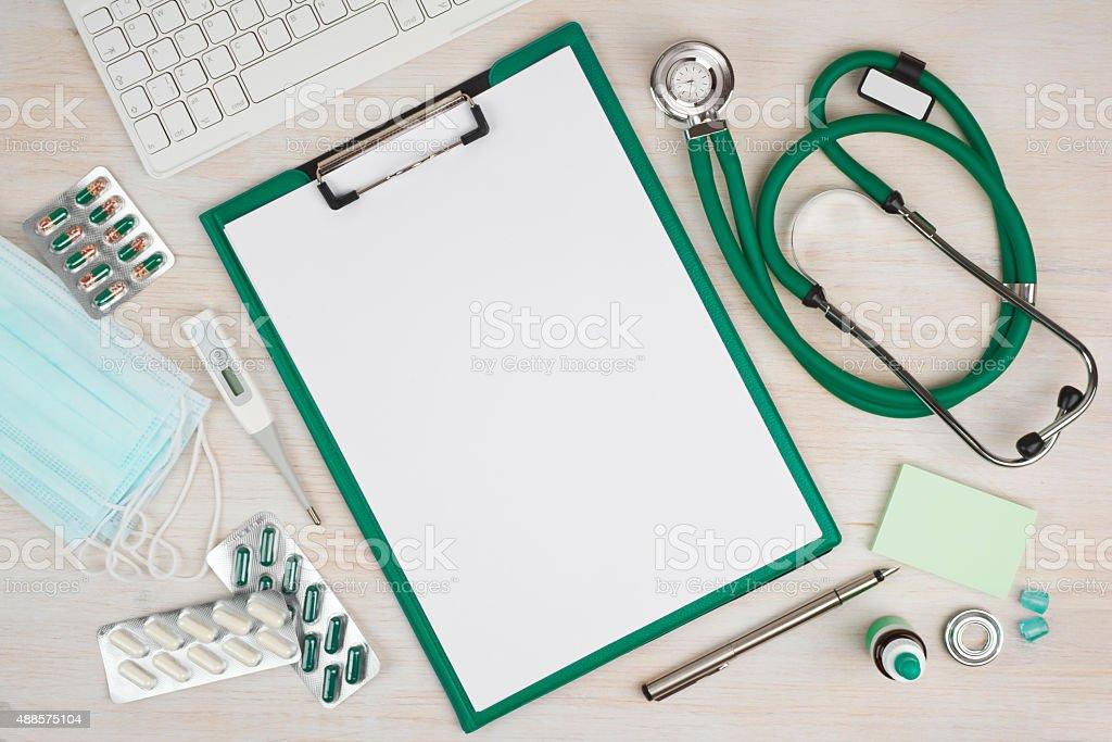 Wooden doctor desk background, horizontal medical concept stock photo