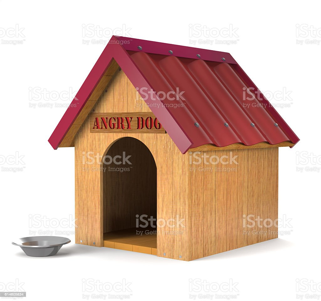 Wooden doghouse (3d illustration). stock photo