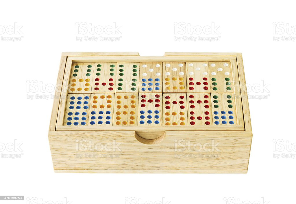 Wooden Domino in box royalty-free stock photo