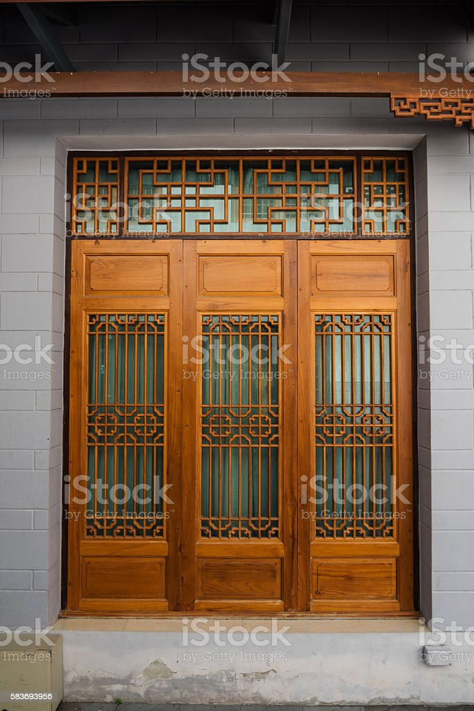 Wooden door by Chinese Style, Architecture design stock photo