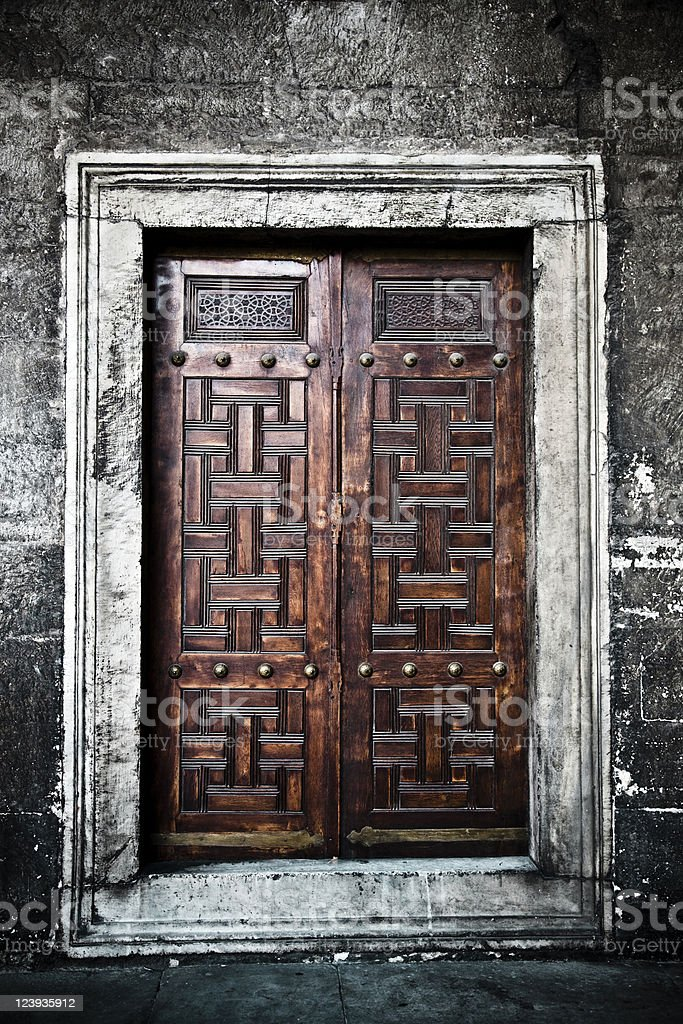 Wooden Door Closed, Blue Mosque Istanbul royalty-free stock photo