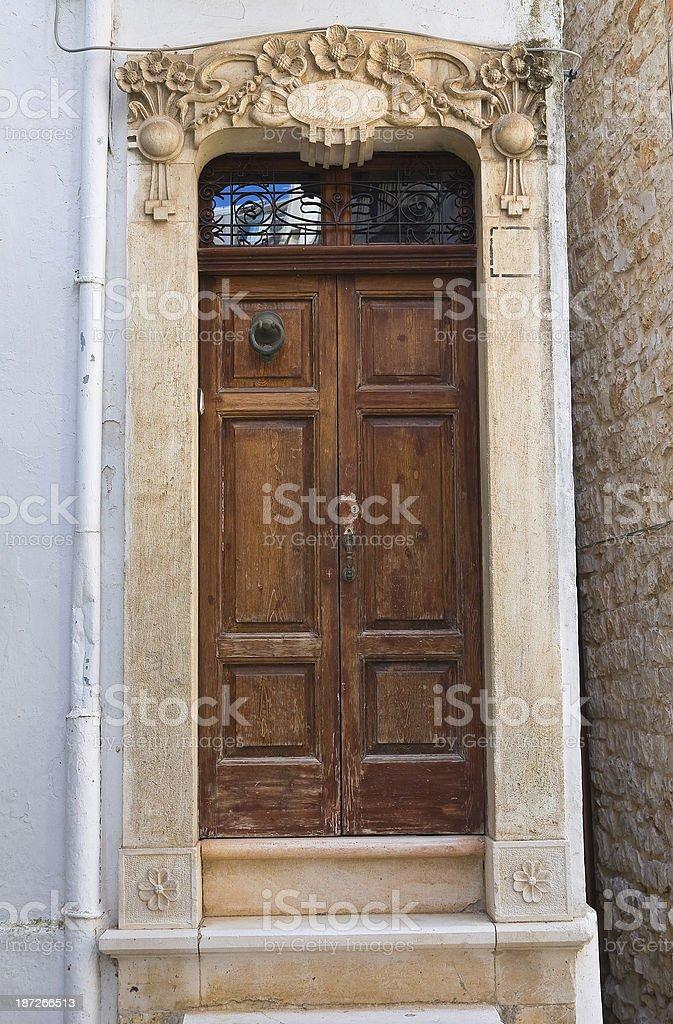 Wooden door. Conversano. Puglia. Italy. royalty-free stock photo